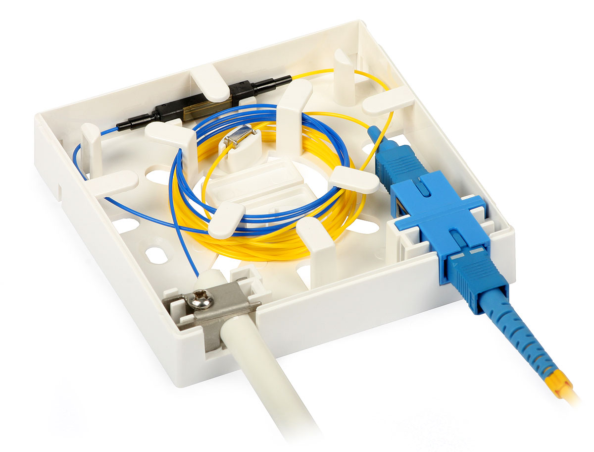 FTTH01B Fiber optic socket pannel install the FWDM connect the CATV cable and fiber optic cable