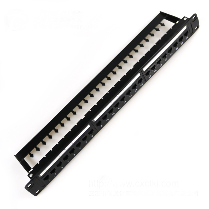 Metal type 24 Ports Cat6 Unshielded Feed-Through Patch Panel, 1U Rack Mount..